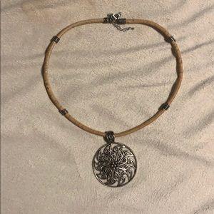 Jewelry - Cork medallion necklace.
